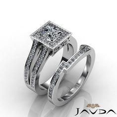 Halo Princess Diamond Engagement Ring Bridal Set EGL E VS2 14k White Gold 2 35ct | eBay