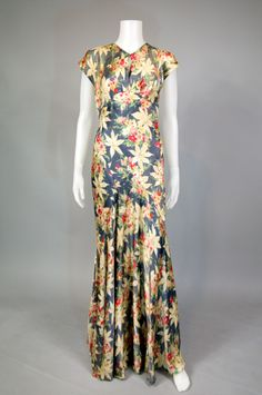 1930's bias cut floral silk dress