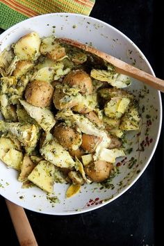 Warm Potato Salad With Artichokes and a Healthy Herb Dressing.