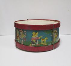 Vintage 1940s Chein Metal Childs Drum Tin Toy Litho by retrogal415