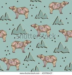 Abstract polygonal bear seamless pattern background.  Grizzly on a background of mountains