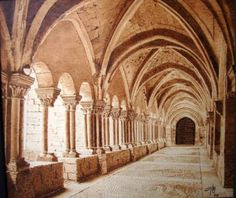 monasterio pirograbado en madera madera,, pirograbado,pyrography