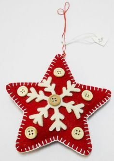 Felted Christmas Star Ornament.....like the buttons!