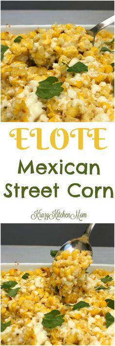 Elote is an off-the-cob, baked version of traditional Mexican Street Corn. It's made with fresh corn, cojita cheese and spice. Mexican Dishes, Mexican Food Recipes, Vegetarian Recipes, Cooking Recipes, Healthy Recipes, Ethnic Recipes, Mexican Appetizers, Spanish Recipes, Party Appetizers