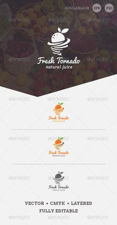 Simple, clean and modern logo template perfect for Natural Products Market, Fresh Organic Fruits, Juice Company, Organic Food, Org