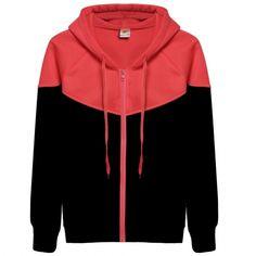 Women Long Sleeve Hooded Casual Leisure Sports Patchwork Hoodies Zipper Fleece Sweatershirt Coat Outerwear