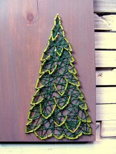 Nine Red: DIY Winter Evergreen String Art Pattern