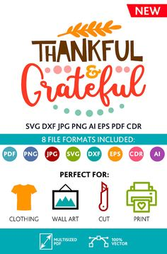 Thankful and Grateful SVG Cut Files Wall Art Quote Printable Art Decor room Art Printable Poster digital (Svg Dxf Cdr Eps Ai Jpg Pdf Png)
