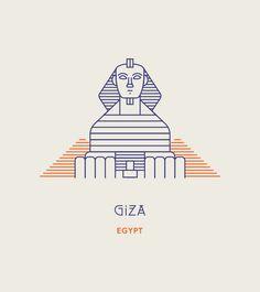 Line Icons of the World's Most Famous Landmarks Illustration Design Graphique, Line Illustration, Illustrations, Line Design, Icon Design, Monuments, Giza Egypt, Famous Landmarks, Instagram Highlight Icons