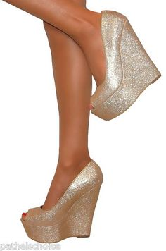 Ladies Gold Super Glittery Peep Toe Wedge Heels Shoe Sandal Evening Party