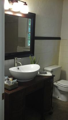This is what I want to do in my 1/2 bath.  I think we have the cabinet