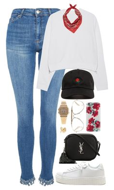 """""""Untitled #1083"""" by zarryalmighty ❤ liked on Polyvore featuring Topshop, Acne Studios, Yves Saint Laurent, CÉLINE, Casetify and Casio"""