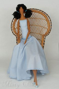 Sophie Elegant Rag Doll-Home Decoration-OOAK Art Doll-Blue-Cloth Doll-Tilda Doll-Romantic Gift-Boudoir Doll-Free Postage-UK/GB