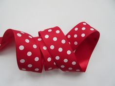 Red Polka Dot Ribbon Taffeta 1 1/2 inch wide by DanJSupplies