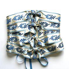 Corset Cincher Belt Ribbon / Bride Cream Ivory White Blue Satin Brass / Small - Winnie Ribbon Corset. $180.00, via Etsy.