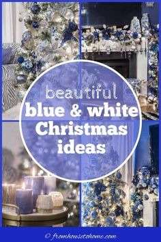 I love this blue and white Christmas home tour. All kinds of Christmas decorating ideas for the tree, living room, table and fireplace mantle. #fromhousetohome #christmas #christmasdecor #blueandwhite #christmasdecoratingideas #holidaysandevents