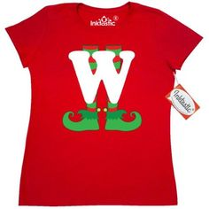 2f1a7e0fc1b Inktastic Christmas Elf Feet Letter W Monogram Women s T-Shirt Red And  Green Holiday Cute Kids Elves Name Alphabet Santa Initial Monogrammed Hat  Clothing ...
