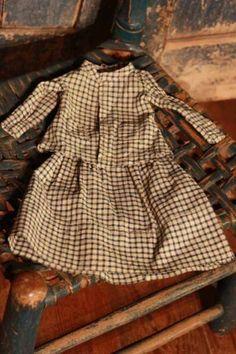 Brown homespun doll dress