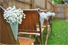 babys breath wedding cones