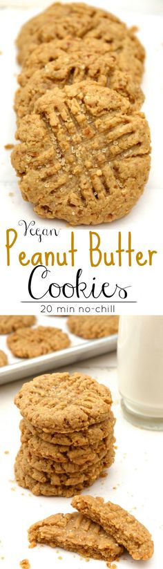 Vegan Peanut Butter Cookies are great for holiday baking! These soft irresistible cookies are bursting with peanut butter flavor. A classic cookie that will disappear fast! Plus they're egg free, dairy free, refined-sugar free and made with fresh ground peanut butter, which makes them a healthier choice! Video included! #vegan #cookies #veganpeanutbuttercookies #peanutbuttercookies