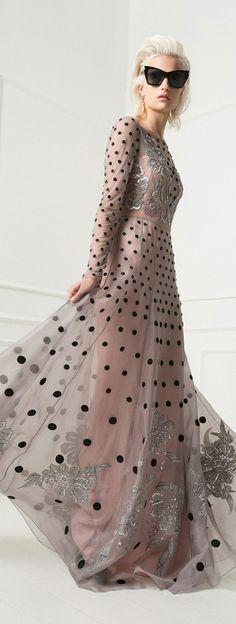 """""""Sheer Gray Black Velvet Dot Embroidery #gown Temperley Resort 2015  #grey #gray"""