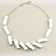 Weiße Fächer-Kette * Minimal white necklace acrylic unique