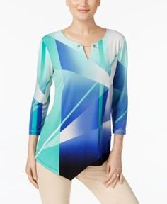 Jm Collection Embellished Asymmetrical Top, Only at Macy's - White XXL