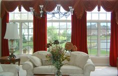 window treatments for large windows | Window Treatments and Draperies | Michael Felice Interiors High Ceiling Living Room, Big Living Rooms, Living Room Windows, Living Room Decor, Bedroom Windows, Large Window Curtains, Home Curtains, Red Curtains, Large Windows