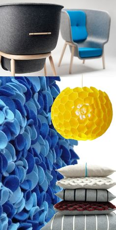 Really nice deco objects made in felt! #felt, #feutre, #fieltro