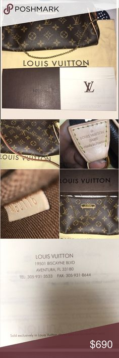 💕Louis Vuitton Eva Clutch🎉 This stylish bag is crafted of classic Louis Vuitton monogram coated canvas. The bag features an elegant brass chain wrist strap, and Cross body strap , Louis Vuitton signature name plate, and a brass top zipper that opens to a compact cocoa brown fabric interior.  This is a fabulous handbag, ideal for day or evening, with the luxury and style only from Louis Vuitton! 😏 brought April 2016 no Low Balling brand new! NO LOWBALLING USE BUTTON ❌❌the bag has no…