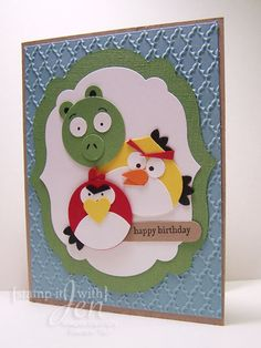 Here is a fun punch art card I made for my brother for his birthday. He loves Angry Birds so ...