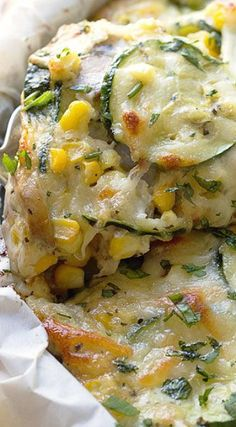 Sweet Corn & Zucchini Crustless Pie _ I added buttery sauteed mushrooms & sliced up fresh sweet corn right off the cob (& I mean SWEET – this stuff tastes like candy to my mouth) to take the whole zucchini pie shtick right over the top. Then I added Swiss or Mozzarella or Gouda like the cheese champ that I am, & voila!