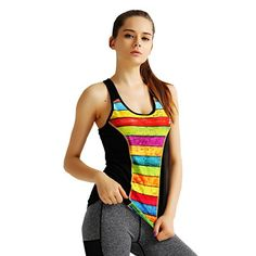 ce25cd645247a Eumerce Women s Digital Printing Dri-More Built in Shelf Bra Racerback Tank  Activewear Gym Sports