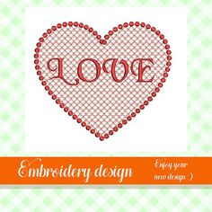 Heart embroidery design love embroidery design embroidery Your Design, Embroidery Designs, Heart, Unique Jewelry, Handmade Gifts, Etsy, Kid Craft Gifts, Craft Gifts, Costume Jewelry