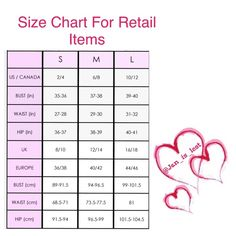 Size Chart for some Retail Items Size chart Accessories