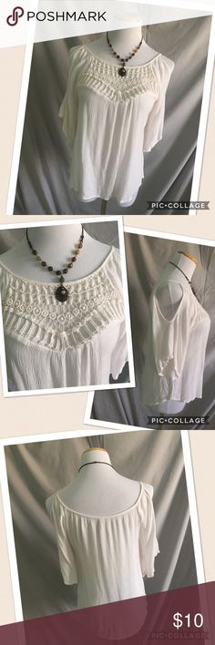 Xhilaration cold shoulder lace top, size S Xhilaration cream cold shoulder top has crochet lace detail at the neckline.  Short bell sleeves and a full, swing body.  Great condition, size S. Xhilaration Tops Blouses