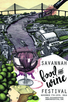 Illustrated Poster Picked for the 2016 Savannah Food & Wine Festival Rooftop Dining, Wine Festival, Local Artists, Beautiful Artwork, Savannah Chat, Wine Recipes, Poster Prints, Posters, Skyline