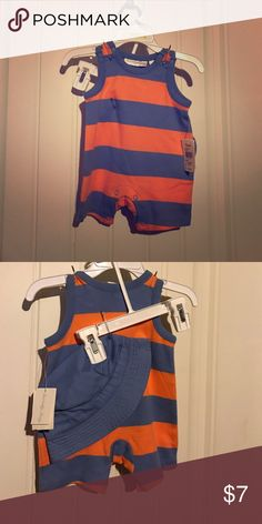 Specialty baby two piece romper set 0-3 months NWT Brand new never worn specialty baby orange and blue romper with a hat. specialty baby  Matching Sets