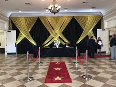 Talk about a Grand Entrance! Take a look at this amazing Swagged Backdrop, using our Gold & Black Draping, Red Carpet and Rope Stanchions for Graduation Party at the Regent! Red Party Themes, Black And Gold Party Decorations, Black Gold Party, Party Ideas, Red Carpet Party, Red Carpet Event, Hollywood Party, Hollywood Tonight, Red Birthday Party
