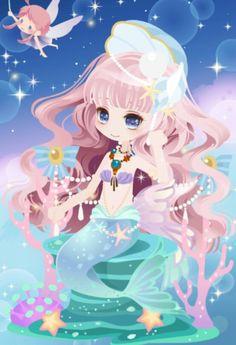 Anime Mermaid, Mermaid Disney, Mermaid Art, Anime Chibi, Anime Art, Chibi Characters, Girls Characters, Magic Wings, Decoupage