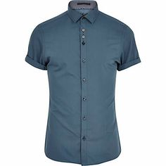 Dark green short sleeve shirt  44.00 river island Calções Roxos 53ac609c8ef