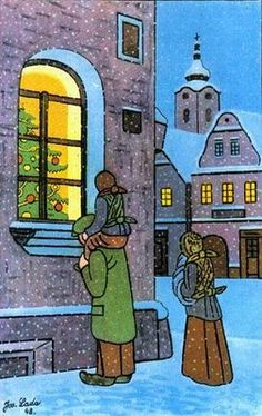 A very strong feeling of Christmas in this lovely painting by Czech artist Josef Lada Winter Illustration, Illustration Art, Naive Art, Vintage Christmas Cards, Winter Scenes, Illustrations, Prague, Advent, Folk Art