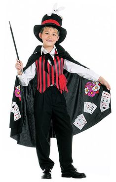 Kids Magician Costume Striped Vest w/Handkerchief PocketPrinted CapeMagic WandTop Hat w/BunnyShow off your magic skills this Halloween in our Kids Magic Magician Party, Magician Costume, Circus Fancy Dress, Rabbit Halloween, Deer Costume, Circus Theme Party, Magic Hat, Costume Shop, Costume Ideas
