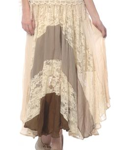 Cream Lace Maxi Skirt | Shannasthreads