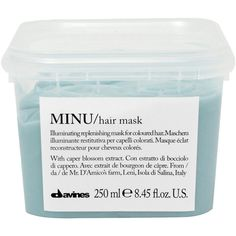 Davines Minu Hair Mask 250ml ($25) ❤ liked on Polyvore featuring beauty products, haircare, fillers, beauty, makeup, blue fillers, cosmetics, magazine, cleansing mask and davines hair care