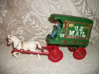 VINTAGE CAST IRON U.S. MAIL DELIVERY WAGON HORSE DRAWN/MAN RIDER