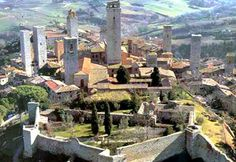 San Gimignano, Italy. There use to be about 70 towers, but these are the only ones remaining. They were to express the power of the person living in them in medieval times.