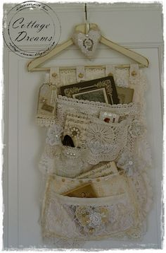 Shabby Chic Card / Letter Organizer Hanger (wooden hanger with hanging pockets). Fabric Art, Fabric Crafts, Sewing Crafts, Sewing Projects, Diy Crafts, Lace Fabric, Shabby Vintage, Vintage Crafts, Vintage Lace