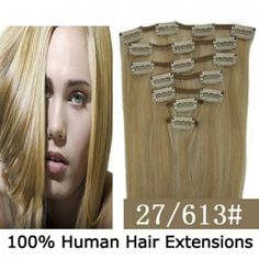 """15"""" 7pcs set Clip-in hair remy Human Hair Extensions #27/613,shop at www.costwe.com"""