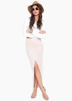Yonce Maxi Skirt in Beige | Necessary Clothing